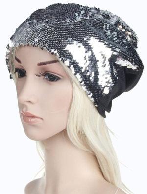 Bonnet beanie paillettes argentées