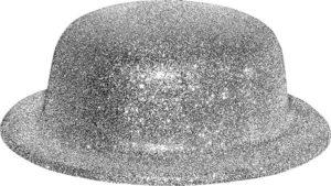 Chapeau melon paillettes argentées
