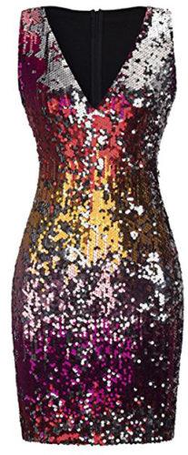 Robe courte à paillettes multicolores