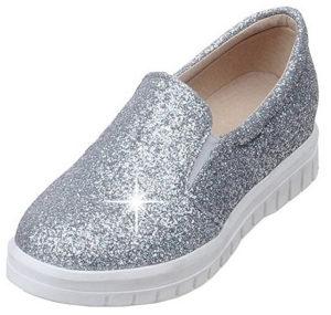 Chaussures talons plats paillettes argentées