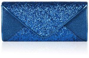 Pochette bleue enveloppe pailletée