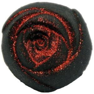 Glitter bath bomb en forme de rose noire et rouge