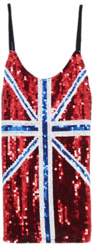 Top paillettes drapeau UK
