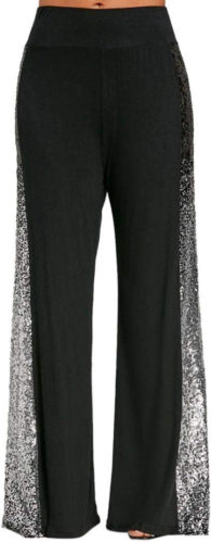 pantalon large à paillettes