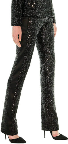 Pantalon de smoking à paillettes noires