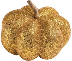 Décoration citrouille dorée paillettes 15cm
