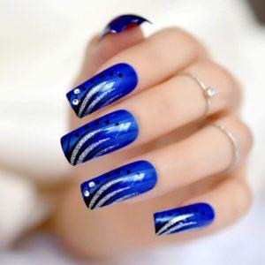 Faux-ongles bleurs motifs pailletés