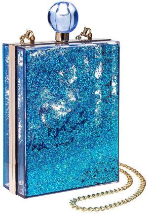 Sac bleu en forme de flacon de parfum