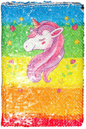 Notebook licorne arc-en-ciel à paillettes