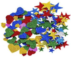 Stickers autocollants coeurs et étoiles en mousse à paillettes