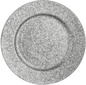 Assiette de présentation à paillettes argentées en carbonate de calcium