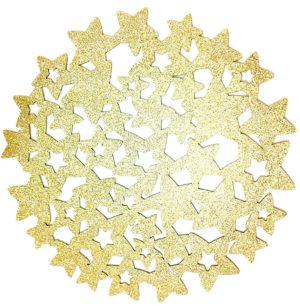 Dessous-de-plat de feutre Motif étoiles paillettes or