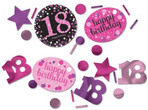 Party Set Anniversaire rose noir paillettes