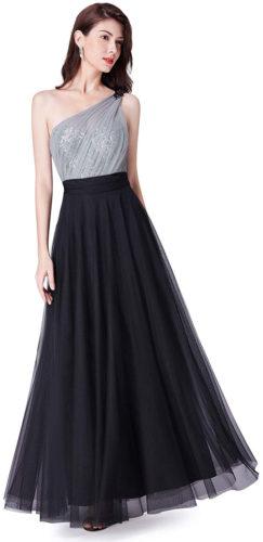 Robe longue une épaule noire et haut paillettes argentées