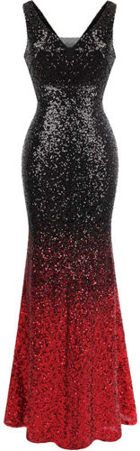 Robe longue noire et rouge à paillettes