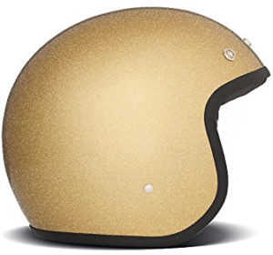 Casque moto paillettes or