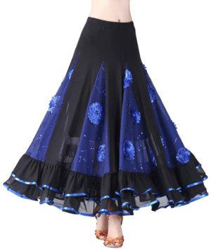 Jupe longue à motol floral et paillettes pour tango ou valse