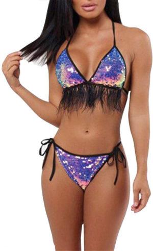 Maillot de bain bikini multicolore franges