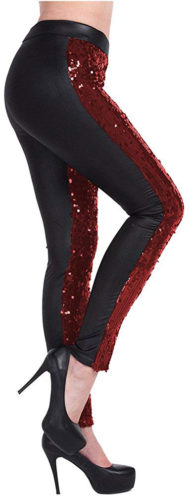 Leggings noirs à paillettes rouges