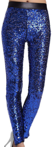 Leggings longs à paillettes bleues