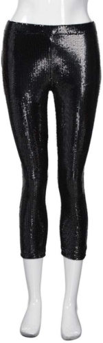 Leggings mi-jambe à paillettes noires