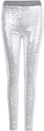 Leggings à paillettes blanches argentées