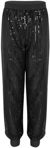 Pantalon noir à coupe survêtement paillettes