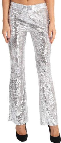 Pantalon slim à paillettes blanches argentées