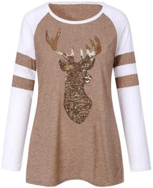 Pull blanc et beige femme motif cerf ou renne à paillettes