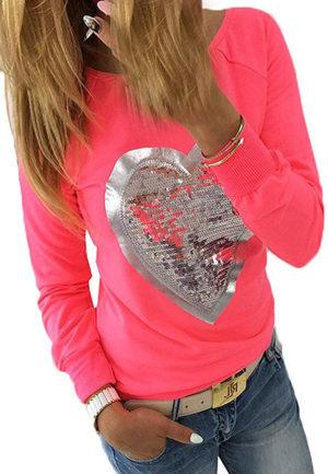 Sweat femme rouge coeur paillettes argentées