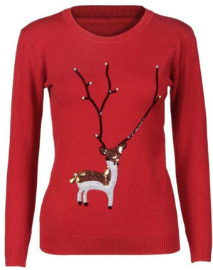 Pull hiver cerf ou renne paillettes