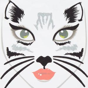 Tatouages pailletés pour le visage motif chat