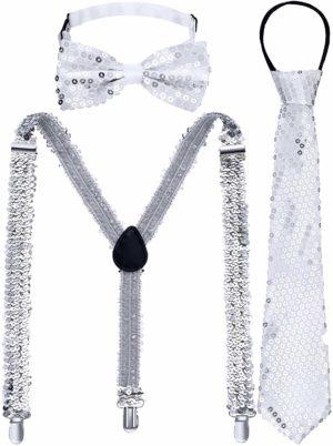 Ensemble cravate nœud papillon et bretelles à paillettes