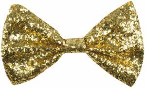 Noeud papillon à fines paillettes dorées