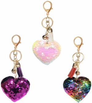 Lot de 3 porte-clés à paillettes coeur