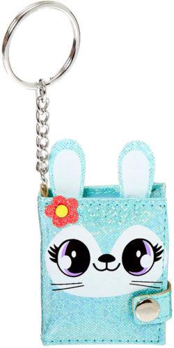 Porte-clés lapine bleue paillettes journal intime