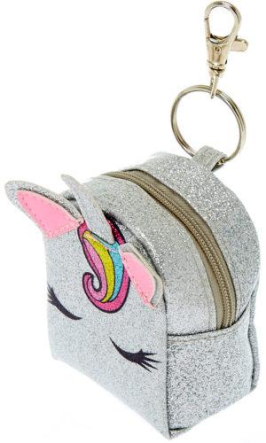 Porte-clés mini sac à dos licorne argentée à paillettes
