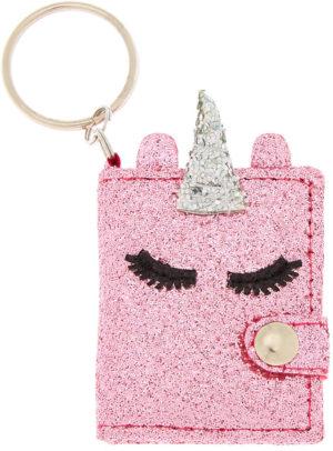 Porte-clés licorne rose paillettes journal intime
