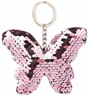 Porte-clé papillon paillettes