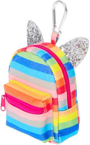Porte-clés mini sac à dos arc-en-ciel oreilles rayures arc-en-ciel paillettes
