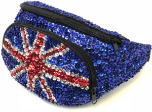 Sac banane paillettes Union Jack UK