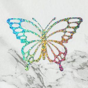 Autocollant papillon en vinyle scintillant