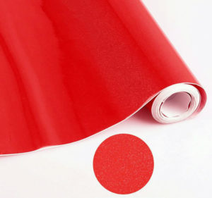 Rouleau de papier adhésif PVC rouge pailleté