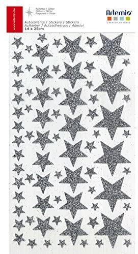 Stickers étoiles paillettes argentées