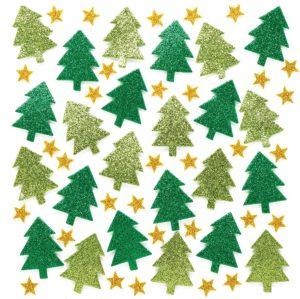 Stickers en mousse pailletés sapins de Noël
