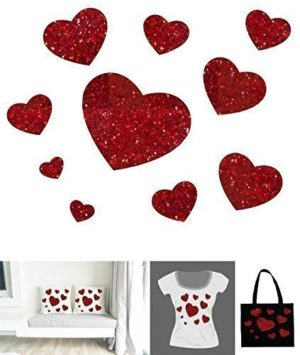 10 transferts thermocollants coeur rouge paillettes