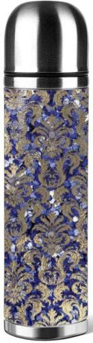Bouteille inox cuir damas bleu argent paillettes