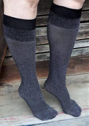 Chaussettes montantes noires en lurex