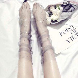 Chaussettes-bas transparentes paillettes étoiles dorées