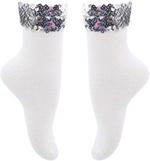 Chaussettes blanches à bordure pailletée